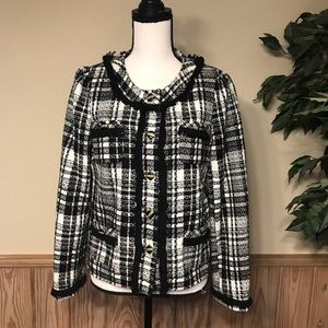 Ny collection jacket tweed black white plaid med